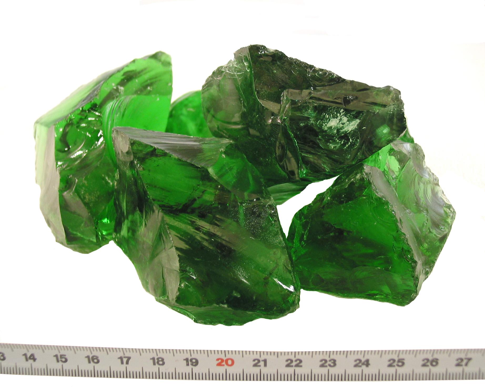 Glasbrokken groen 80-120mm