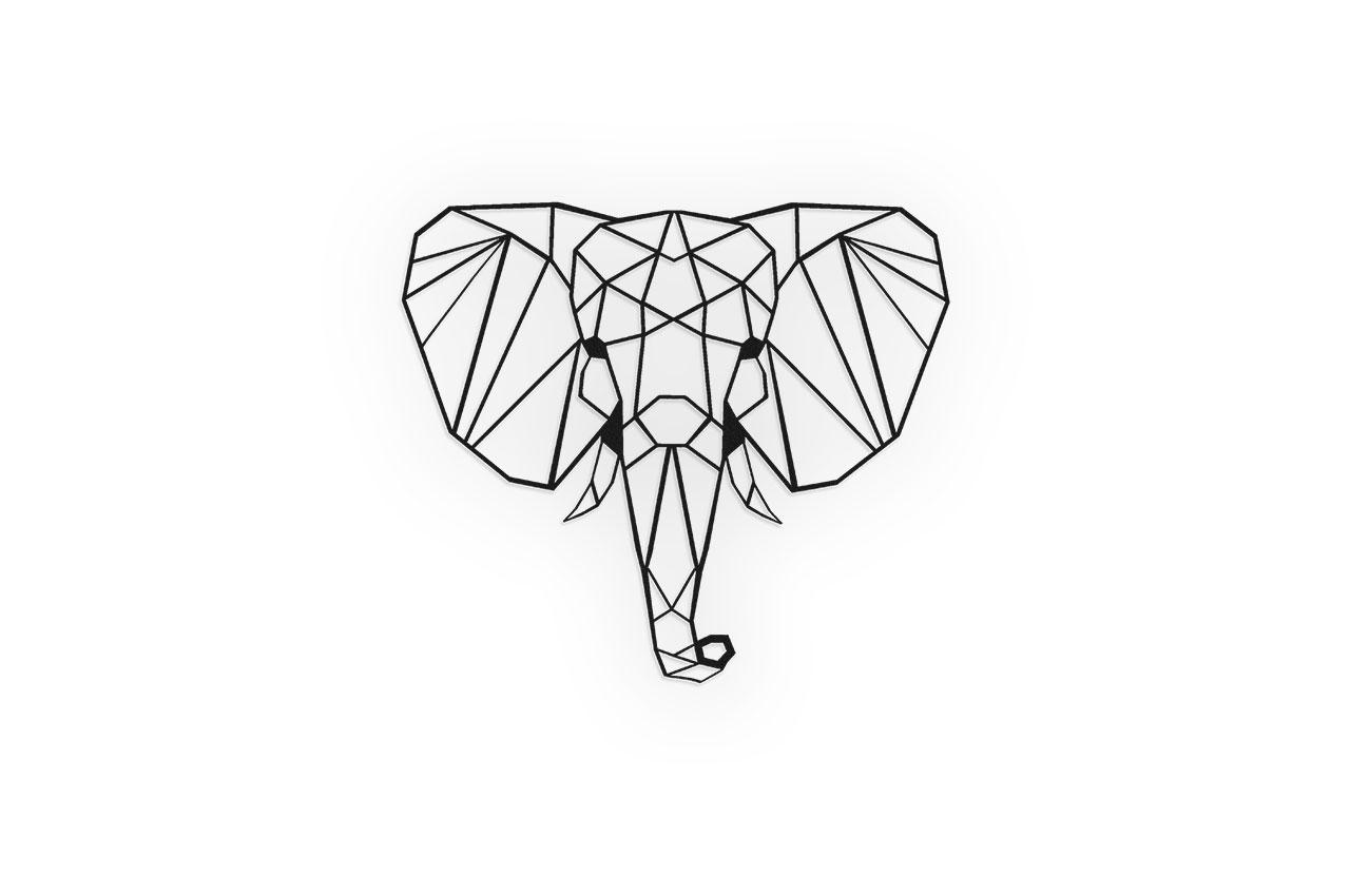 Olifant schanskorf decoratie Zwart