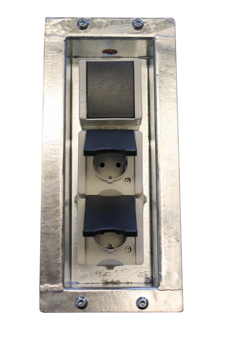 Schanskorf dubbelstopcontact met schakelaar