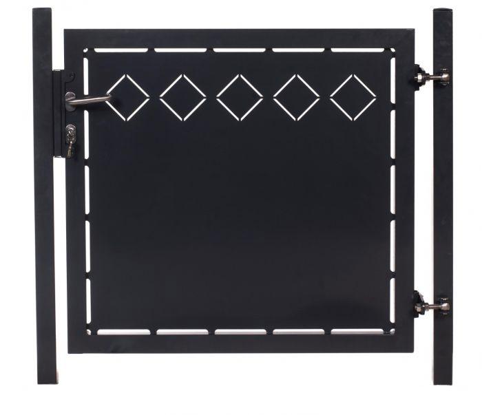 Tuinhek poortje met laseruitsneden (25x25cm) ruiten