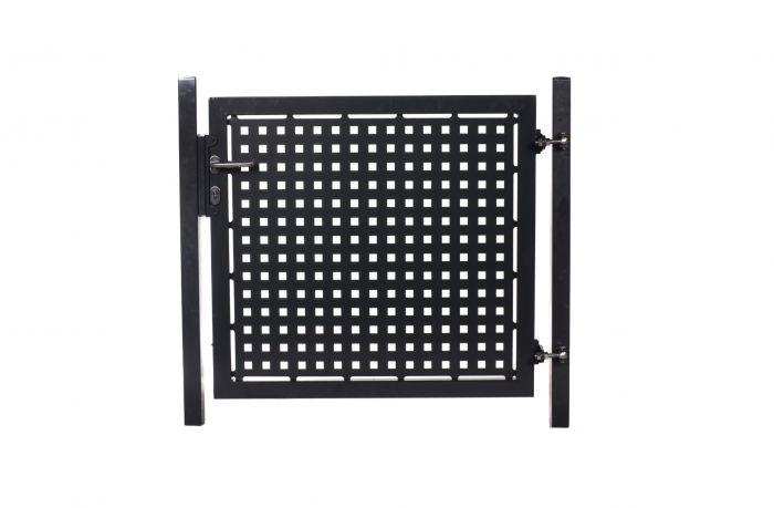 Tuinhek poortje met laseruitsneden (25x25cm) vierkantjes